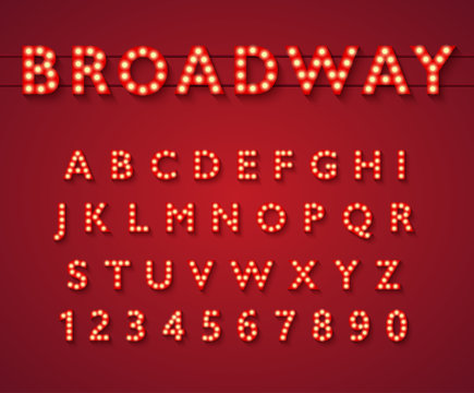 Light bulb alphabet in Broadway theatre style, vintage glowing bright letters and numbers with yellow lamps and shadows on red background. Typography vector illustration.