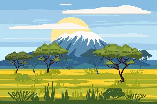 African landscape savannah wild nature. Grass, bushes, acacia trees and mountane