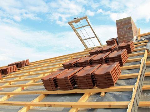 Vorbereitungen zur Dacheindeckung