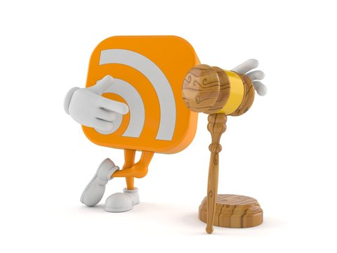 RSS icon character with gavel
