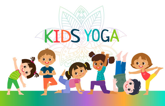 Kids Yoga Horizontal Banners Design Concept. Girls and Boys In Yoga Position Vector Illustration. Happy Cartoon Children Practicing Yoga. Flat Kids Yoga Logo On White Background.