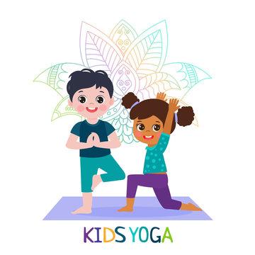 Yoga Time! Kids Yoga Design Concept. Girl and Boy In Yoga Position Vector Illustration. Happy Cartoon Children Practicing Yoga. Flat Kids Yoga Logo On White Background.