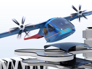 Metallic blue E-VTOL passenger aircraft taking off from an urban airport. Urban Passenger Mobility concept. 3D rendering image.