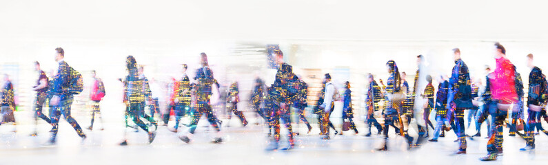 Beautiful motion blur of walking people in train station. Early morning rush hours, busy modern life concept. Ideal for websites and magazines layouts Fototapete