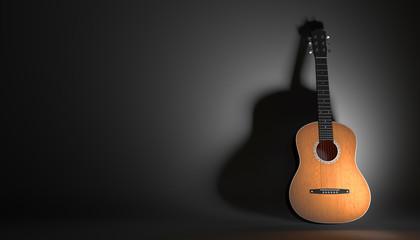 acoustic guitar on a black background 3d illustration