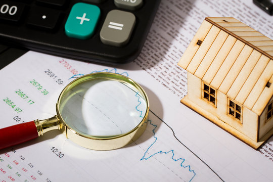 Money and house, real estate economy, statistical chart