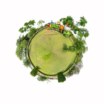 360 Panorama of playground  on white background with Clipping path inside / circle panorama of playground on   white background