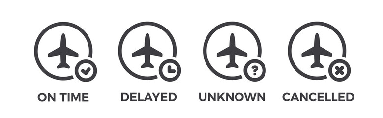 Flight status icons. Airport information - on time, unknown, delayed, cancelled. Airplane symbol set Wall mural