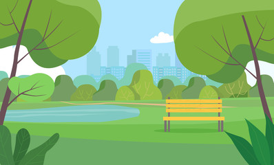 Landscape in city park . Vector flat style Illustration. Wall mural