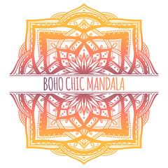 Fotobehang Boho Stijl Ethnic Mandala frame decoration.Boho chic oriental motif. Gradient color in white background.