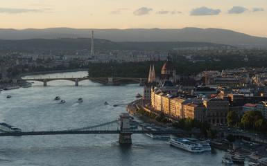 Wall Mural - Budapest city, high angle view in sunset, Hungary