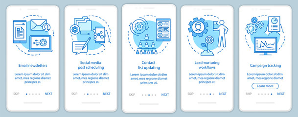 Marketing automation blue onboarding mobile app page screen vector template. Software platforms walkthrough website steps with linear illustrations. UX, UI, GUI smartphone interface concept