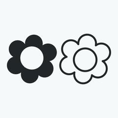 set of flower icon on white background