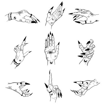 Witch hands with black nails, rings, Magic. Boho style.