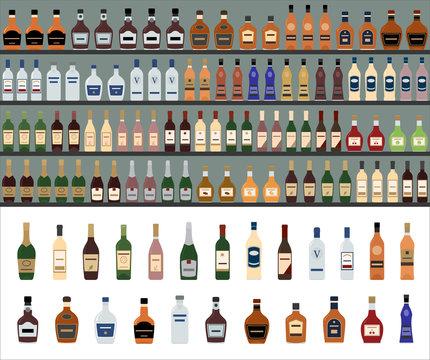Alcoholic Drinks Bottles Large Vector Set. Supermarket shelves with alcohol bottles. Seamless pattern.