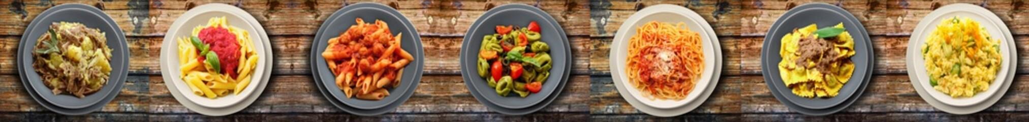 italian pasta on wooden background