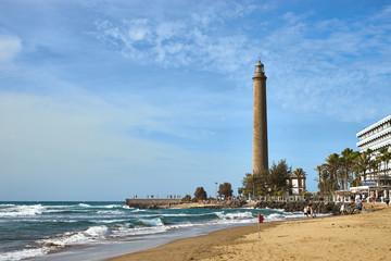 "Maspalomas Beach with lighthouse ""faro"" in the back / Grand Canary Island"