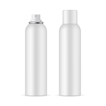 Deodorant spray bottle mockup with opened and closed cap, isolated on white background. Vector illustration