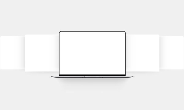 Laptop mockup with blank wireframing pages. Concept for showcasing web-design projects. Vector illustration