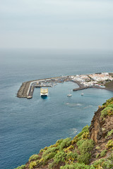 Harbor of Agaete with big boat in the west of Gran Canaria Island
