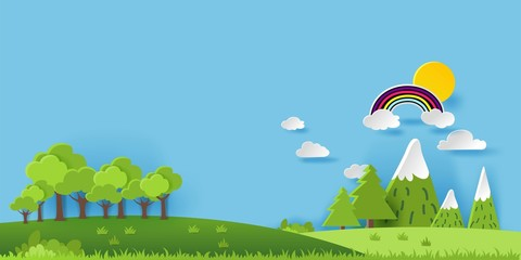 3D landspace concept design. Colorful hand crafted art. Paper cut style. Vector illustration EPS10.