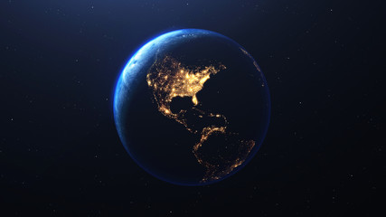 Earth planet viewed from space at night showing the lights of the United States of America  USA  and Latin American countries, 3d render of planet Earth, elements of this image provided by NASA