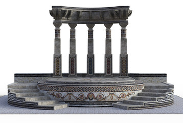 3D rendered Fantasy Greek Temple on White Background - 3D Illustration