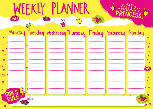 Weekly planner for girls. Kids schedule design template