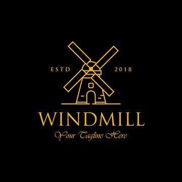 line art windmill logo designs, classic and luxury logo