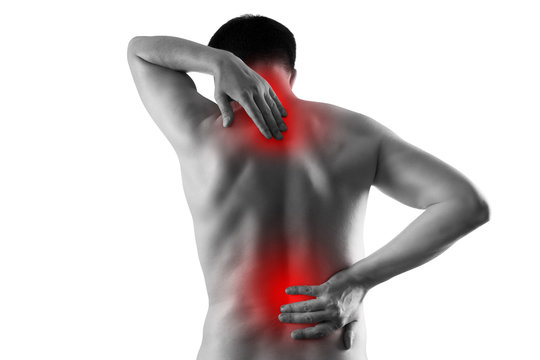 Pain in the male body, man with back ache, sciatica and scoliosis isolated on white background, chiropractor treatment concept