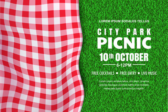 Picnic horizontal background. Vector poster or banner template with realistic red gingham plaid on green grass lawn