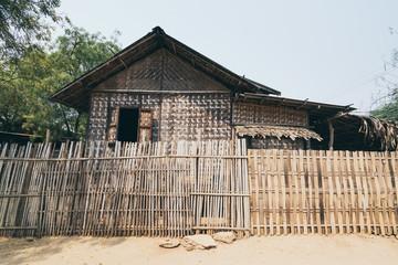 Rustic bamboo hut in a rural village of Bagan, Myanmar