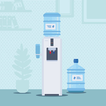 Office water cooler flat vector illustration