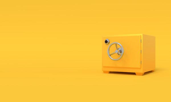 Vintage safe deposit. Illustration with empty place for text. 3D rendering