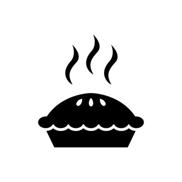 Pie icon. Flat vector illustration in black on white background. EPS 10