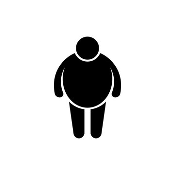 Overweight man symbol. Flat web icon, sign or button isolated on whte background. Collection modern trend concept design style vector illustration symbol. EPS 10