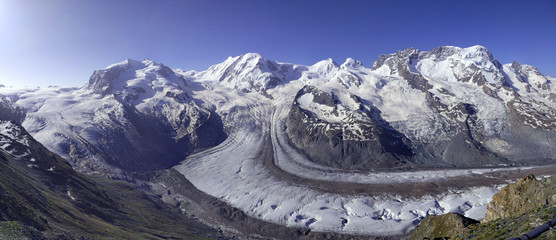 Panoramic view of the Gorner Glacier , in the Swiss Alps. View from Gornergrat .