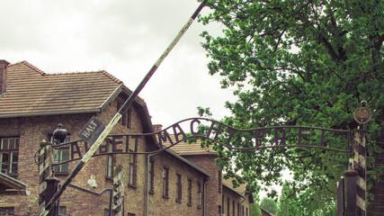 Auschwitz-Birkenau, Poland - June 27, 2019 German concentration camp Auschwitz. View of the inscription ,, Arbeit macht frei ,,.