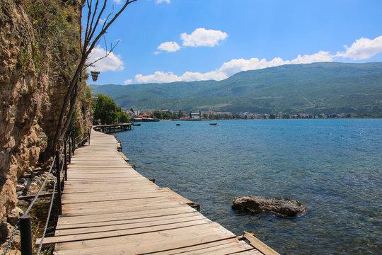 Wooden bridge to the pier on Lake Ohrid, Republic of North Macedonia