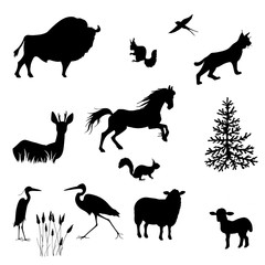 Silhouettes of bison, sheep, lamb, lynx, squirrel, herons, swallows, fallow deer, horse vector on white background