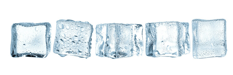 Cold ice cubes on white space  Wall mural