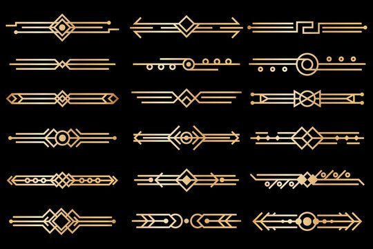 Art deco borders. Gold deco design dividers, book header ornament patterns. 1920s and 30s vintage luxury elements. Vector isolated set
