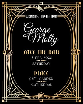 Art deco invitation. Wedding art deco card with gold frame border, classic 1920s retro style luxury art. Golden abstract vector mockup