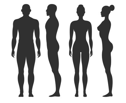 Man and woman silhouettes. Human body outline shapes in side and front view. Standing male and female figures vector isolated set
