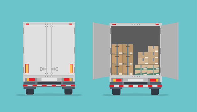 Open delivery truck with cardboard boxes and closed truck. Isolated on blue background. Back view. Transport services, logistics and freight of goods. Flat style, vector illustration.