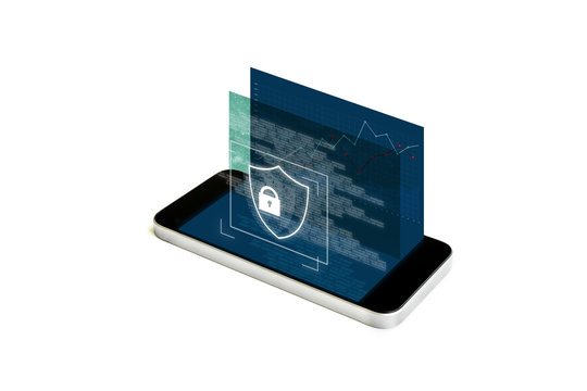 Mobile phone security and digital data security system. Mobile smart phone with augmented reality security lock screen, on white background