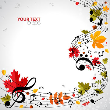 Autumn musical background with notes and leaves