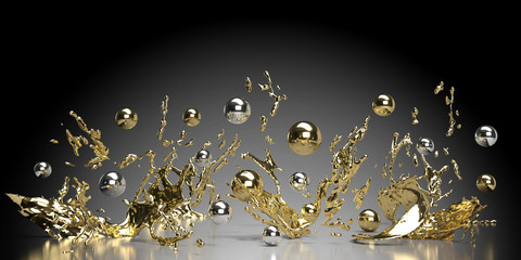 abstract black background with lots of golden and silver pearls and splashes