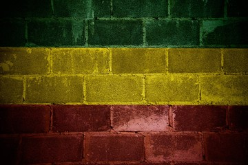 Green yellow red On brick wall,reggae background