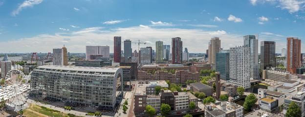Canvas Prints Rotterdam Panoramic cityscape of the city of Rotterdam on a sunny day